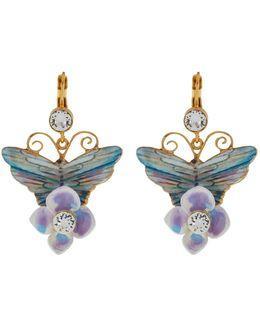 Butterfly And Hydrangea Earrings
