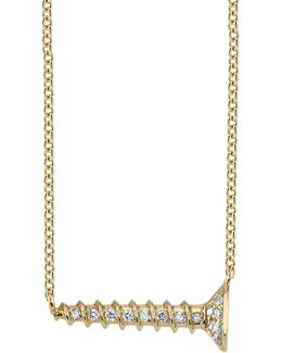 Yellow Gold And Diamond Horizontal Screw Necklace