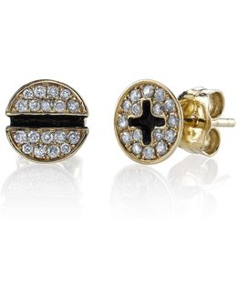 Diamond Pav Screw Stud Earrings