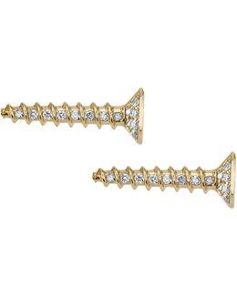 Yellow Gold And Diamond Horizontal Screw Stud Earrings