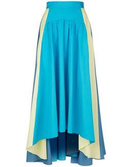 Tri-colour Cotton Midi Skirt