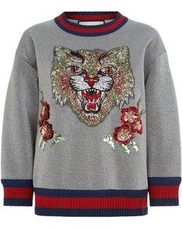 Lurex Tiger Embellished Sweatshirt