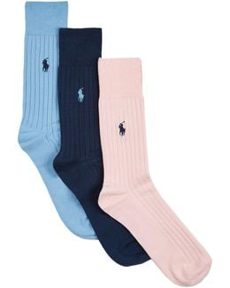 Egyptian Cotton Ribbed Socks (pack Of 3)