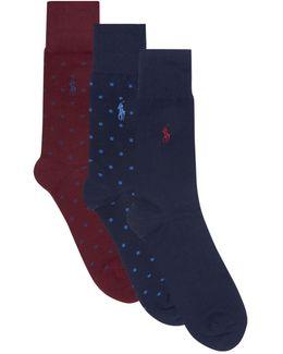 Polka-dot And Plain Socks (pack Of 2)
