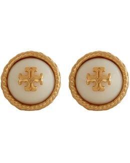 Pearl Logo Stud Earrings