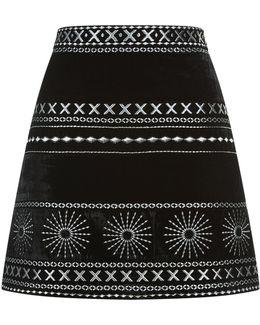 Liya Embellished Velvet Skirt