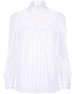 Pleated Collar Lace Yoke Shirt