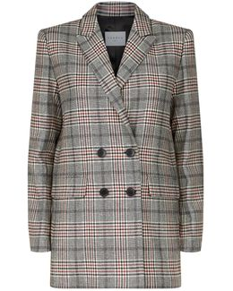 Double-breasted Check Print Coat