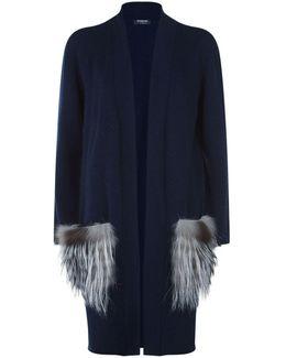 Fox Fur Trim Cashmere Cardigan