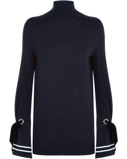 Axel High Neck Ribbon Tie Cuff Sweater