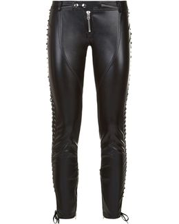 Laced Faux Leather Leggings