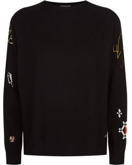 Embroidered Sleeve Cashmere Sweater