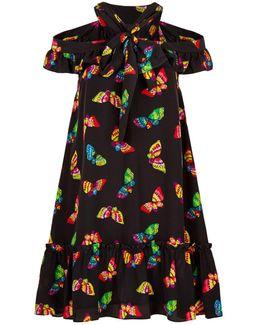 Butterfly Print Cut-out Silk Dress