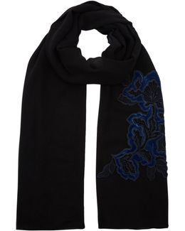 Embroidered Floral Appliqu Silk Scarf