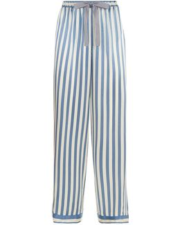 Chantal Striped Silk Pyjama Bottoms