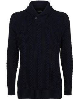 Cable Knit Shawl Neck Sweater