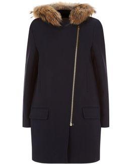 Fur Trimmed Parka Coat