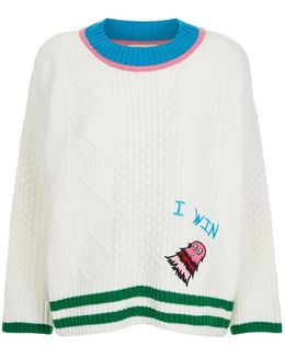 Embroidered Monster Aran Sweater