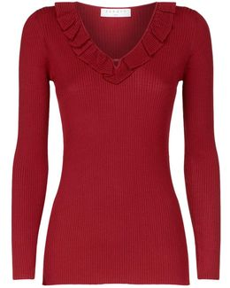 Ruffle V-neck Ribbed Sweater