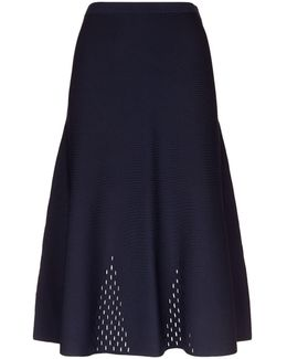 Stretch Knit Cut-out Midi Skirt