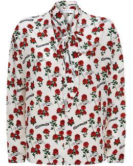 Rose Print Silk Blouse