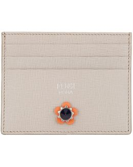 Crayons Flower Stud Leather Card Holder