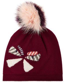 Wool Hat W/ Fox Fur Pompom