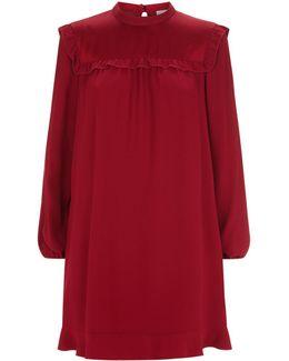 Ruffle Bib Trim Long Sleeve Dress