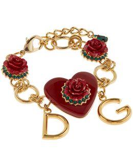 Rose And Heart Logo Charm Bracelet
