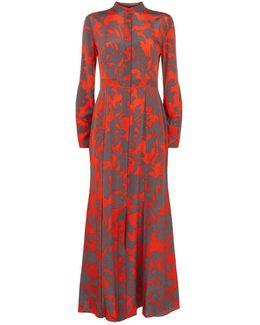 Stand-collar Silk Crepe De Chine Dress