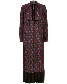 Pleated Print Midi Dress
