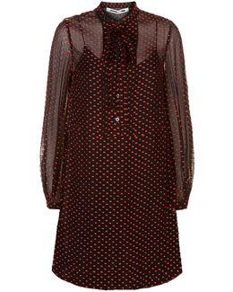 Pin Tuck Sheer Hem Midi Dress