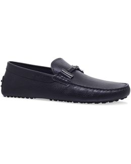 Grained Leather Double-t Driving Shoes