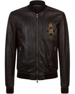 Embellished Leather Bomber Jacket