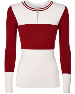 Colour-block Zip Down Sweater