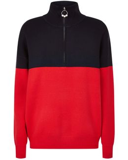 Colour-block Long Sleeve Zip Down Sweater