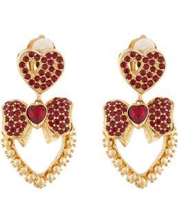 Heart Drop Crystal-embellished Earrings