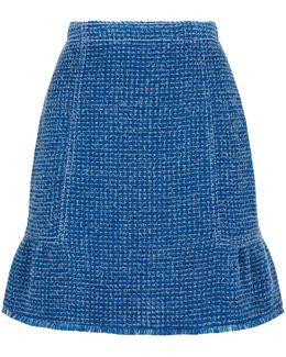 Lurex Tweed Peplum Hem Skirt