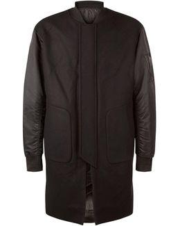 Longline Wool Bomber Jacket