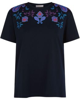 Embroidered Paisley Motif T-shirt