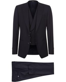 Exposed Stitch Three-piece Suit