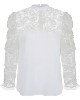 Lace Panel Ruched Sleeve Blouse