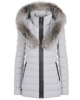 Kadalina-x Light Down Jacket With Fur Trimmed Collar In Mineral