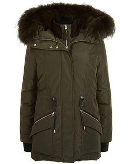 Army Fur Trim Hooded Coat