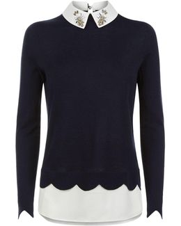 Suzaine Embellished Collar Sweater