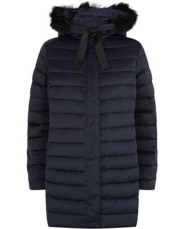 Fur Trim Hooded Down Coat