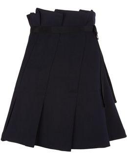 Box Pleat Grosgrain Trim Skirt