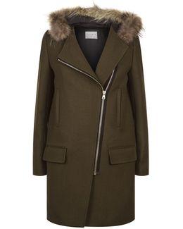 Woollen Coat With Fur Hood