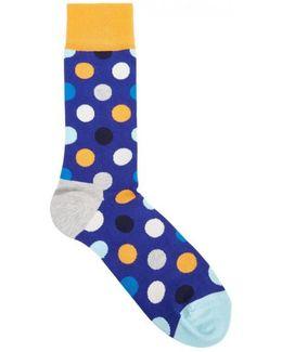 Polka-dot Cotton Blend Socks
