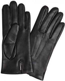Bath Black Cashmere-lined Leather Gloves